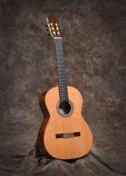 De getoonde gitaar heeft een ceder bovenblad